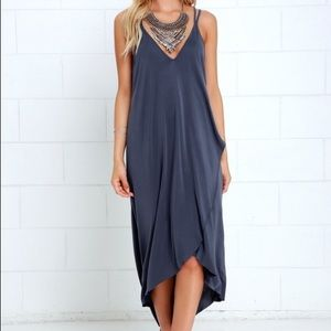 Lush Mood and Melody Washed Blue High-Low Dress